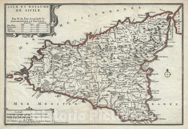 Historic Map : Sicily, Italy, De Fer, 1701, Vintage Wall Art