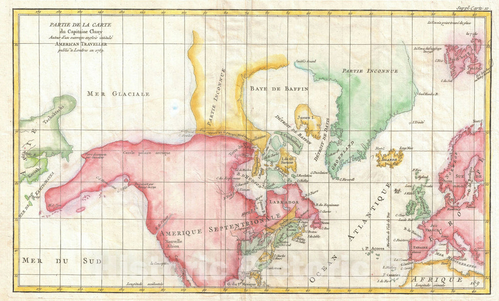 Historic Map : The North America illustrating Cluny's Voyages, Vaugondy and Diderot, 1772, Vintage Wall Art