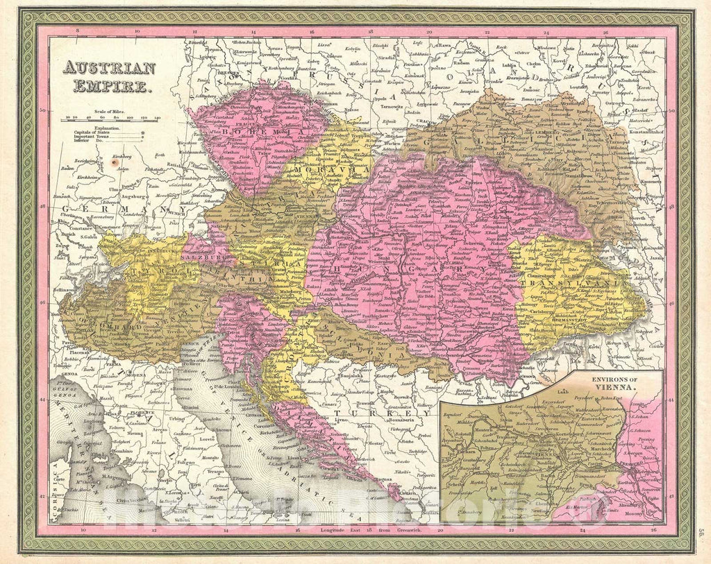 Historic Map : Austria, Hungary and Transylvania, Mitchell, 1850, Vintage Wall Art