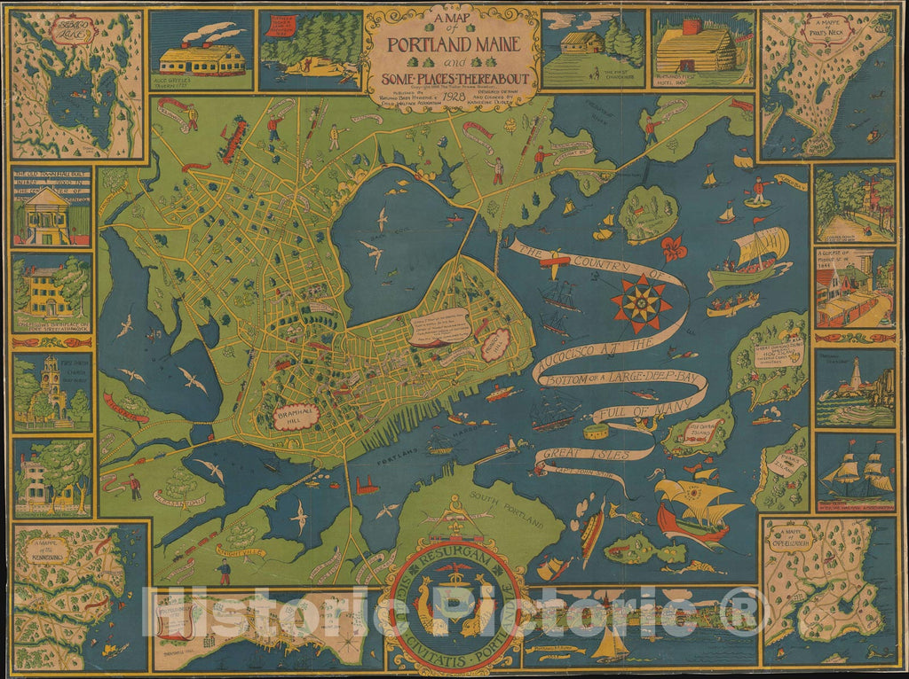 Historic Map : Pictorial City Map of Portland, Maine, 1928, Vintage Wall Art