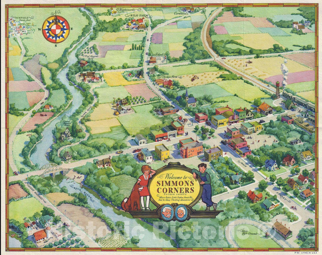 "Historic Map : Simmons Corners ""Little Orphan Annie Radio Show"", Kieth Ward, 1936, Vintage Wall Art"