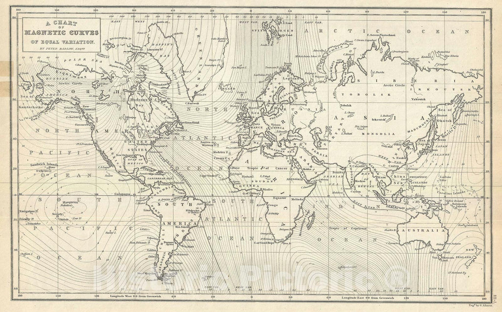 Historic Map : Chart World showing Magnetic Waves, Black, 1844, Vintage Wall Art