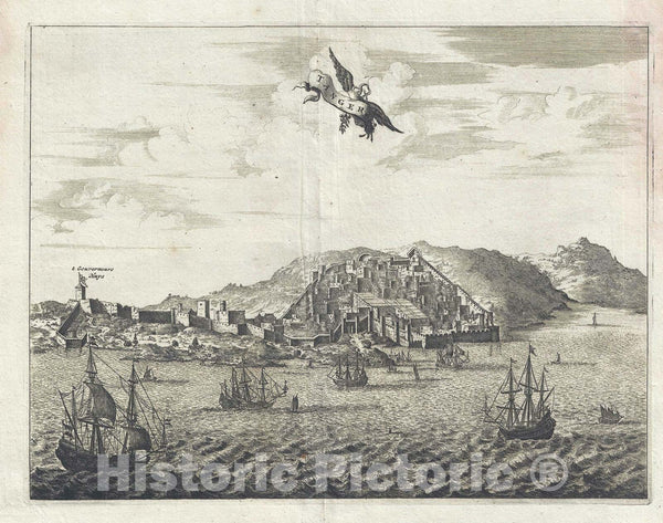Historic Map : View of Tangier, Morocco, Dapper, 1686, Vintage Wall Art
