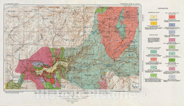 Historic Map : Yosemite National Park, U.S.G.S. Geologic, 1930, Vintage Wall Art