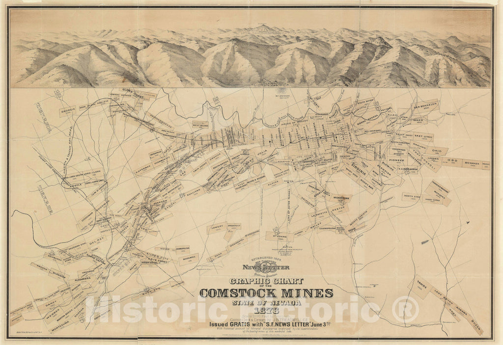 Historic Map : The Comstock Mines, Nevada, Treadwell and, 1876, Vintage Wall Art