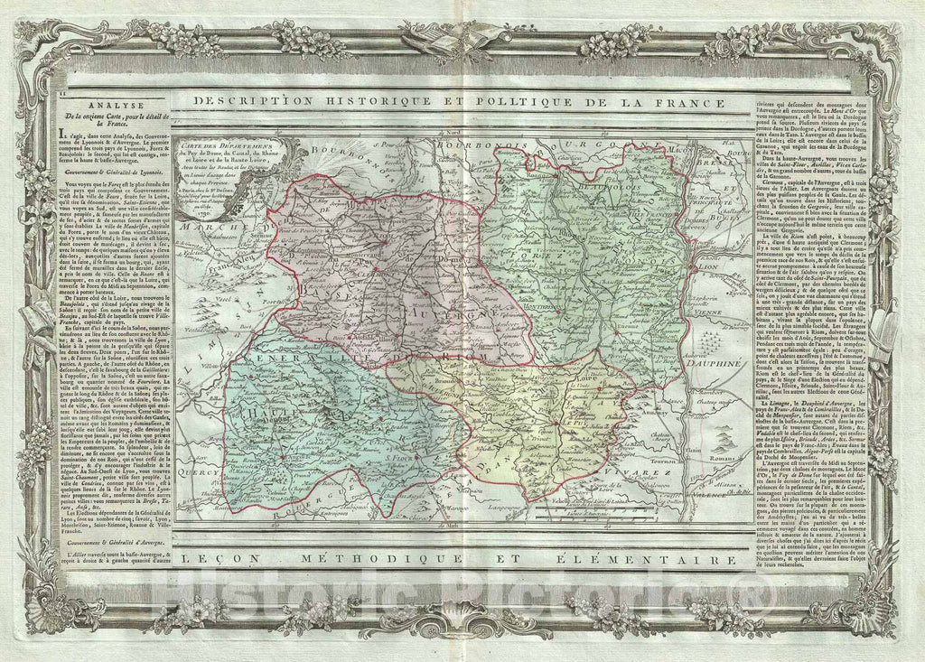 Historic Map : The Auvergne and Rhone-Alpes Regions of France, Desnos, 1786, Vintage Wall Art
