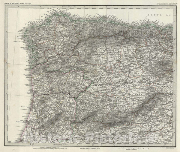 Historic Map : Northwest Spain and Portugal, Stieler, 1873, Vintage Wall Art