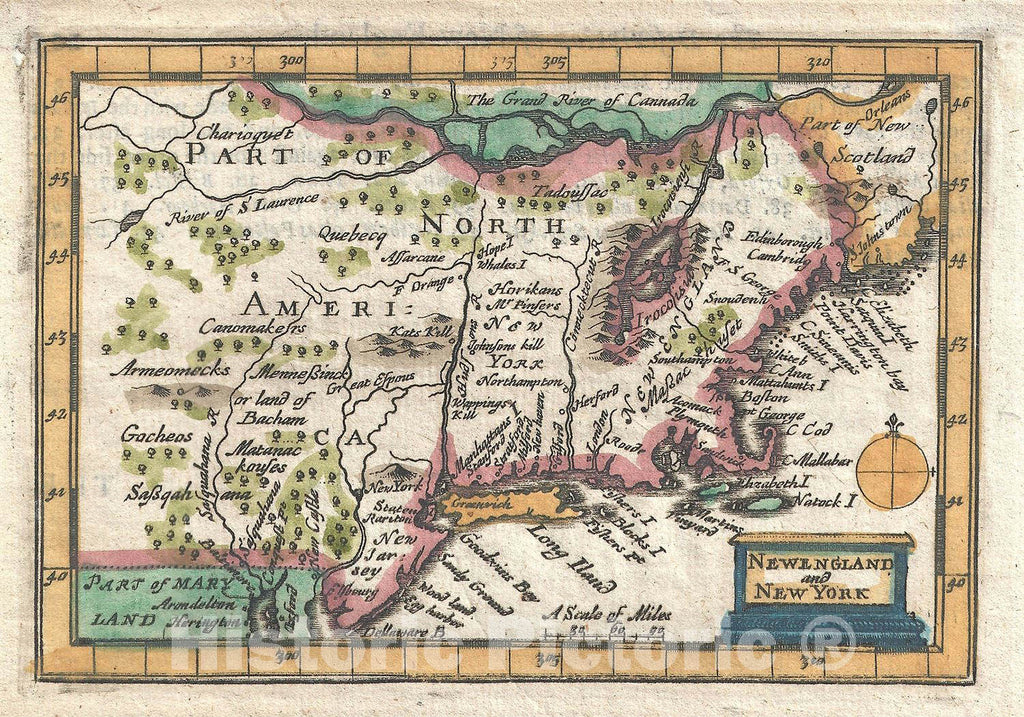 Historic Map : New England and New York, Speed, 1675, Vintage Wall Art