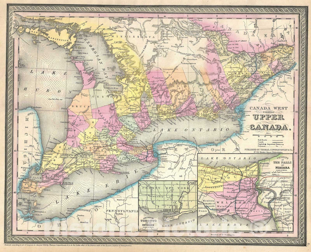 Historic Map : Ontario, Upper Canada or Canada West, Mitchell, 1854, Vintage Wall Art