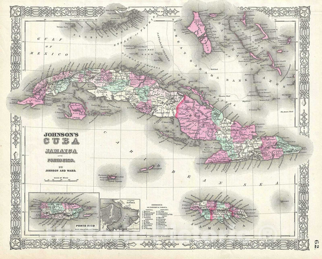 Historic Map : Cuba, Jamaica and Puerto Rico, Johnson, 1863, Vintage Wall Art