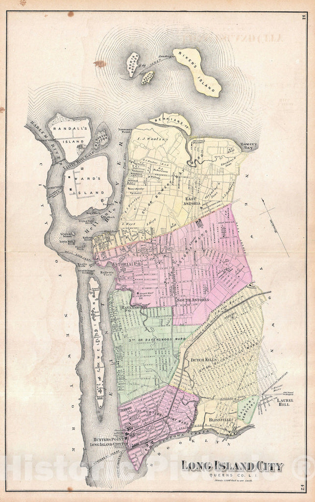 Historic Map : Astoria and Long Island City, Queens, New York, Beers, 1873, Vintage Wall Art