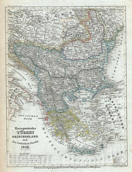 Historic Map : Turkey in Europe and Greece, Meyer, 1852, Vintage Wall Art