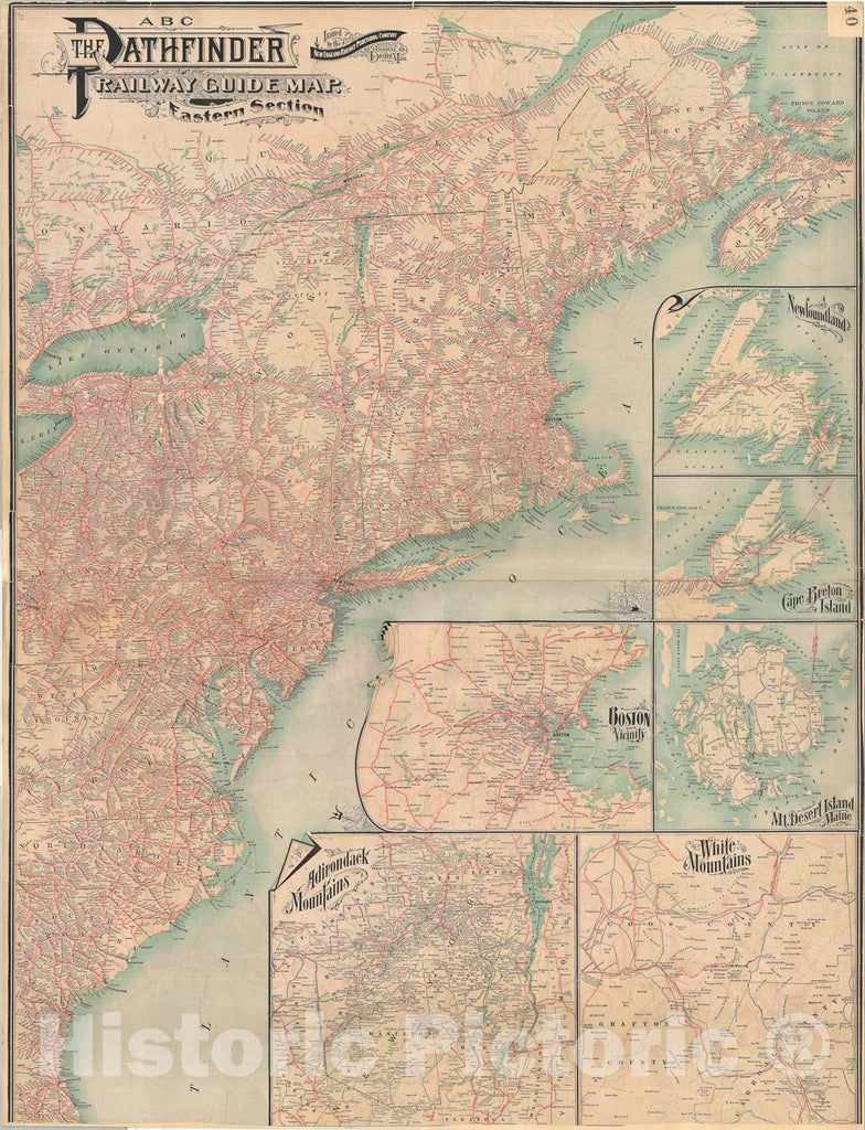 Historic Map : The Eastern United States, Railroad, 1901 v1, Vintage Wall Art