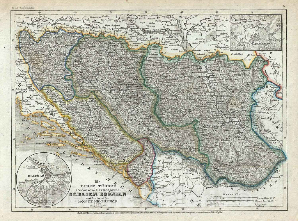 "Historic Map : The Balkans ""Croatia, Serbia, Montenegro, Bosnia, Herzegovina"", Meyer, 1852, Vintage Wall Art"