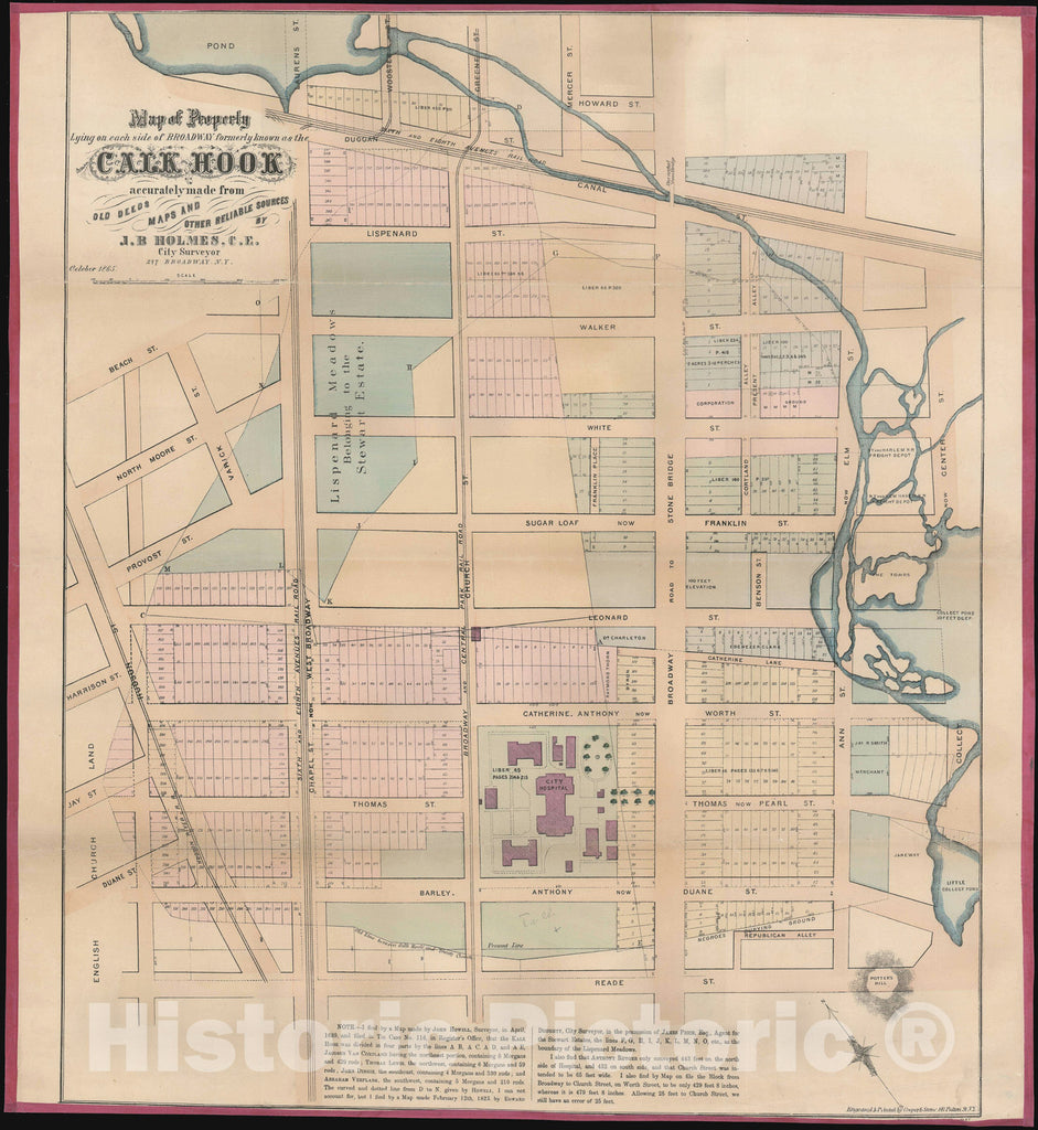 Historic Map : Tribeca and Collect Pond Area, New York City, Holmes, 1865, Vintage Wall Art