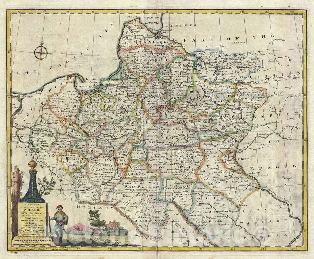 Historic Map : Poland and Lithuania, Bowen, 1747, Vintage Wall Art