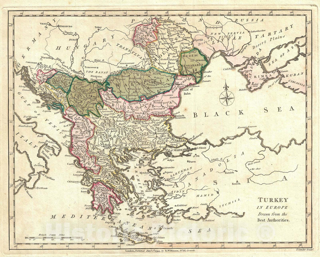 Historic Map : Turkey in Europe under The Ottoman Empire, Wilkinson, 1794, Vintage Wall Art