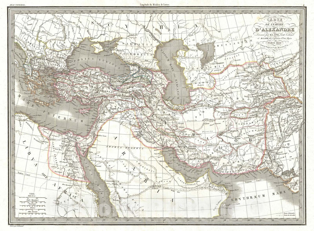 Historic Map : The Empire of Alexander The Great and Persia, Lapie, 1832, Vintage Wall Art