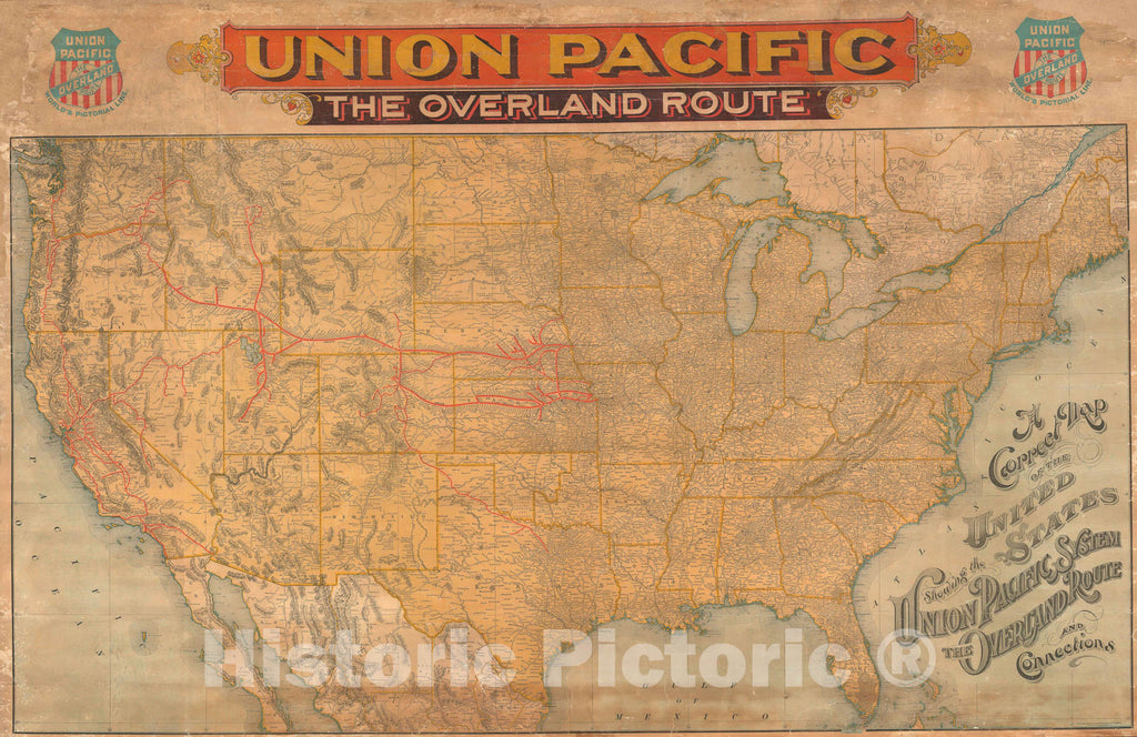 Historic Map : The United States w/ Union Pacific Railroad, Rand McNally, 1896, Vintage Wall Art