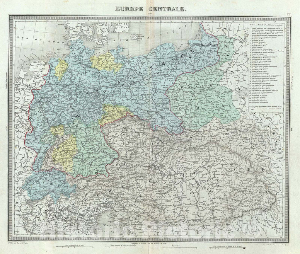 "Historic Map : Central Europe ""Germany, Poland, Switzerland, Austria, Hungary, Bohemia, Lithuan, Tardieu, 1874, Vintage Wall Art"