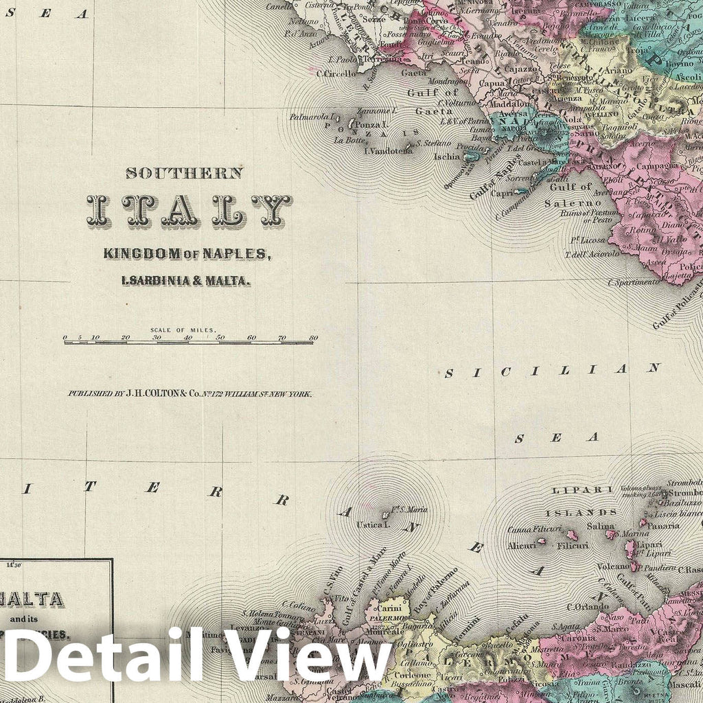 Historic Map : Southern Italy, Sicily, Sardinia and Malta, Colton, 1856, Vintage Wall Art