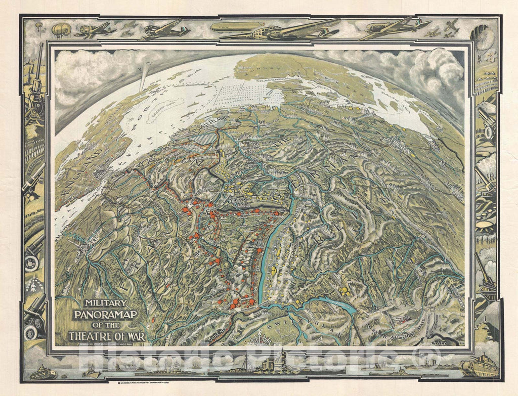"Historic Map : The Theater of War ""WWII"", Colortext, 1940, Vintage Wall Art"