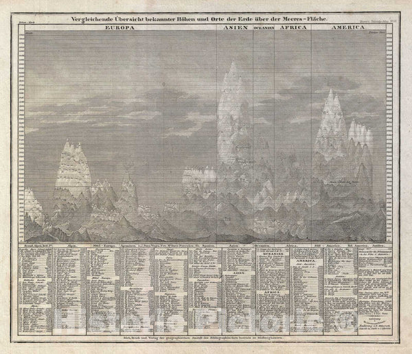 Historic Map : Comparitive Chart of The World Mountains, Meyer, 1850, Vintage Wall Art
