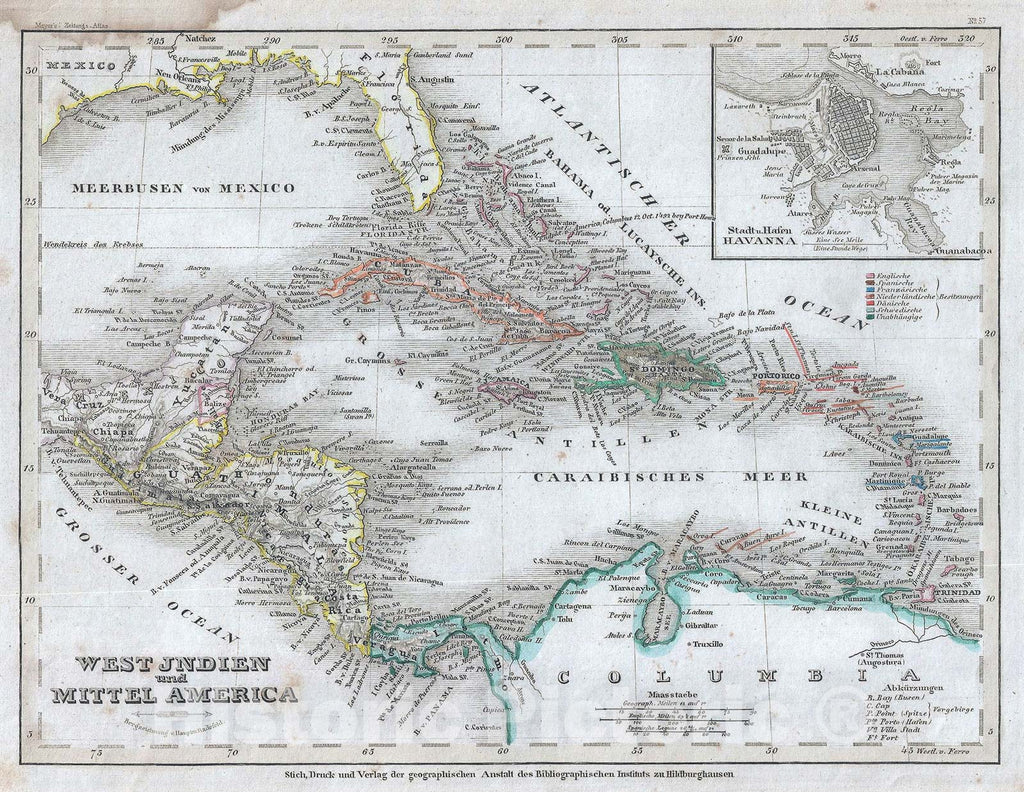 Historic Map : The West Indies and Central America, Meyer, 1852, Vintage Wall Art