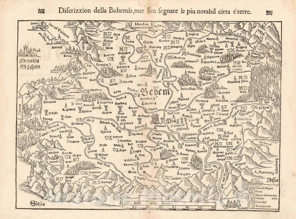 Historic Map : Bohemia: 1558 Edition of The Earliest Acquirable Bohemia, Munster, 1545, Vintage Wall Art