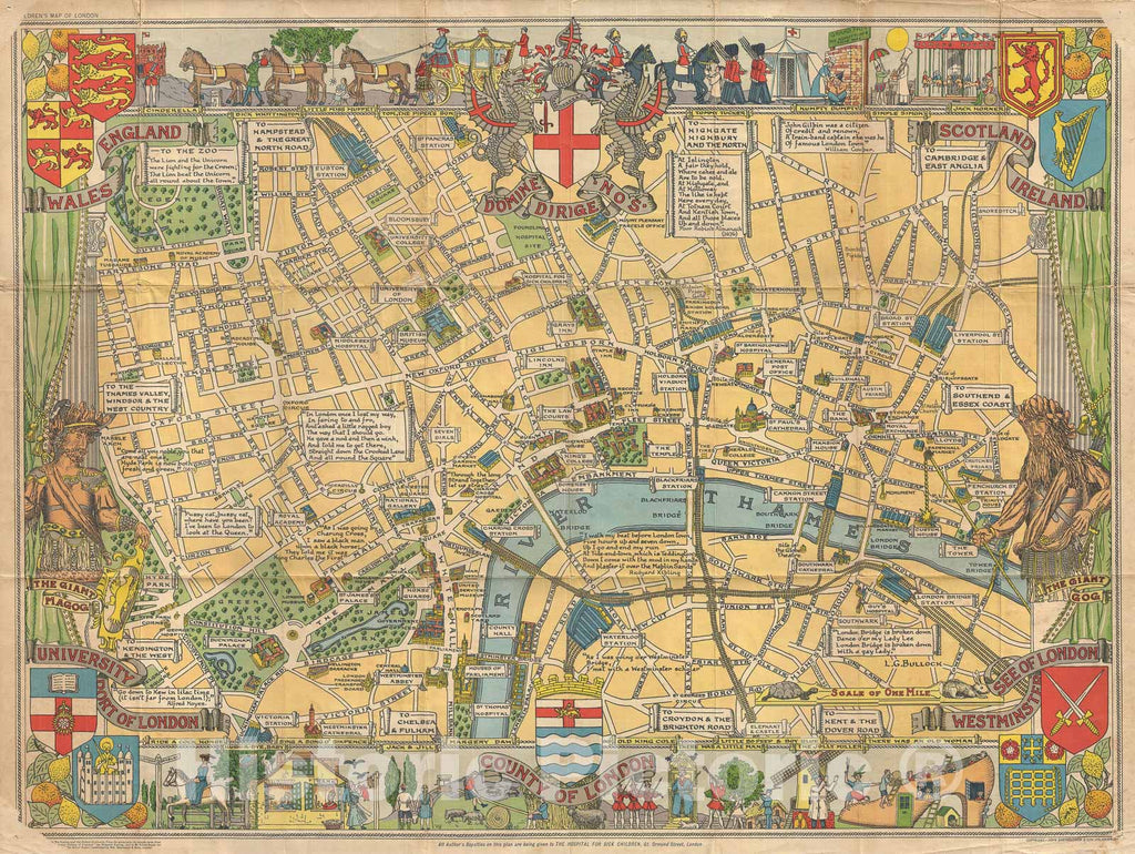 Historic Map : Children's Pictorial map of London, Bartholomew, 1955, Vintage Wall Art