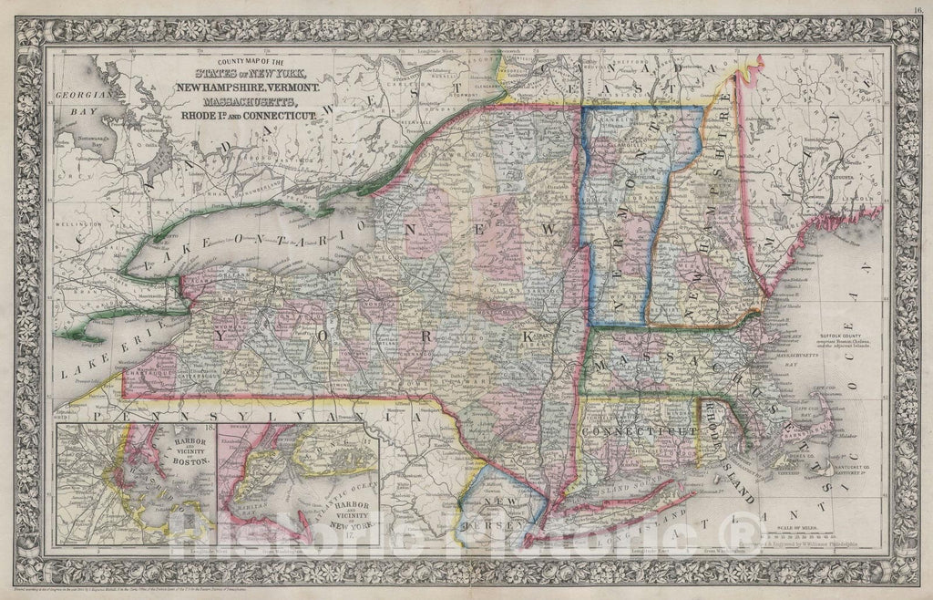 Historic Map : New York, Massachusetts, Connecticut, Rhode Island, New Hampshire & Vermont, Mitchell, 1864, Vintage Wall Art