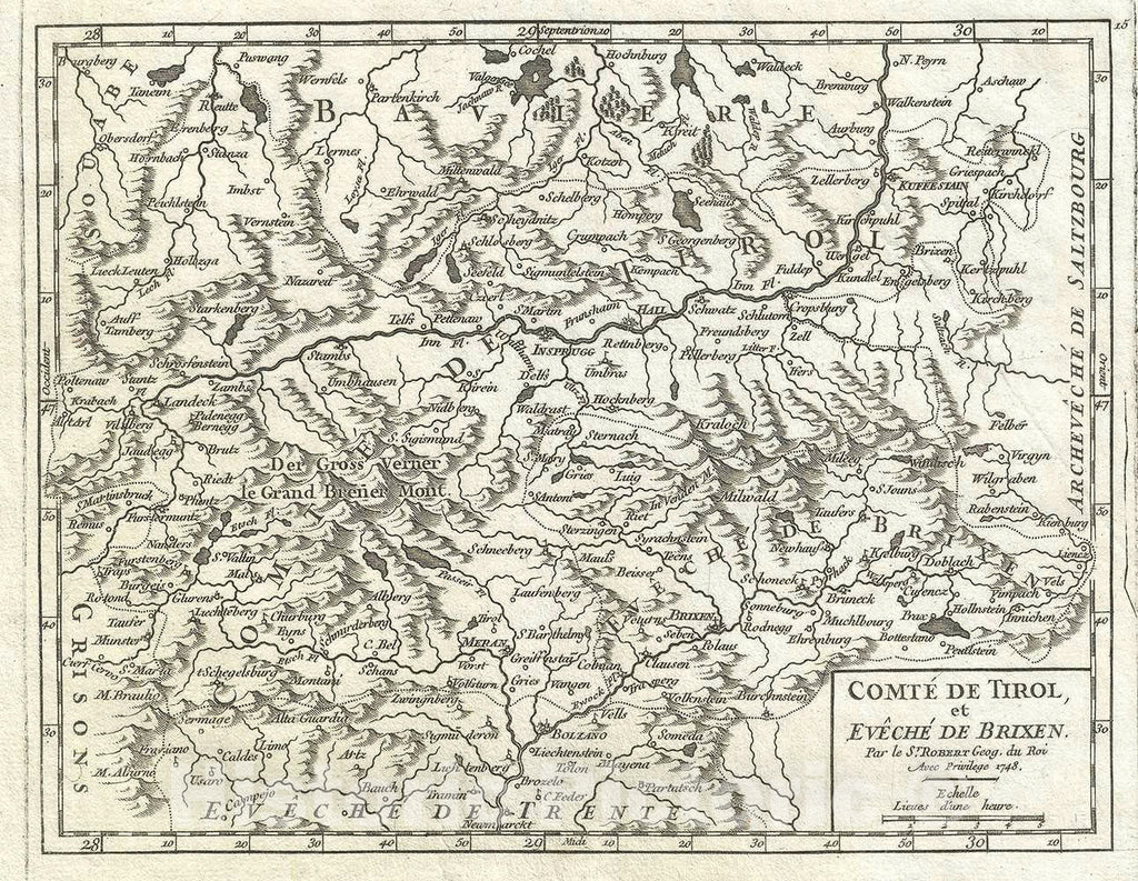 Historic Map : The County of Tyrol, Italy and Austria, Vaugondy, 1748, Vintage Wall Art