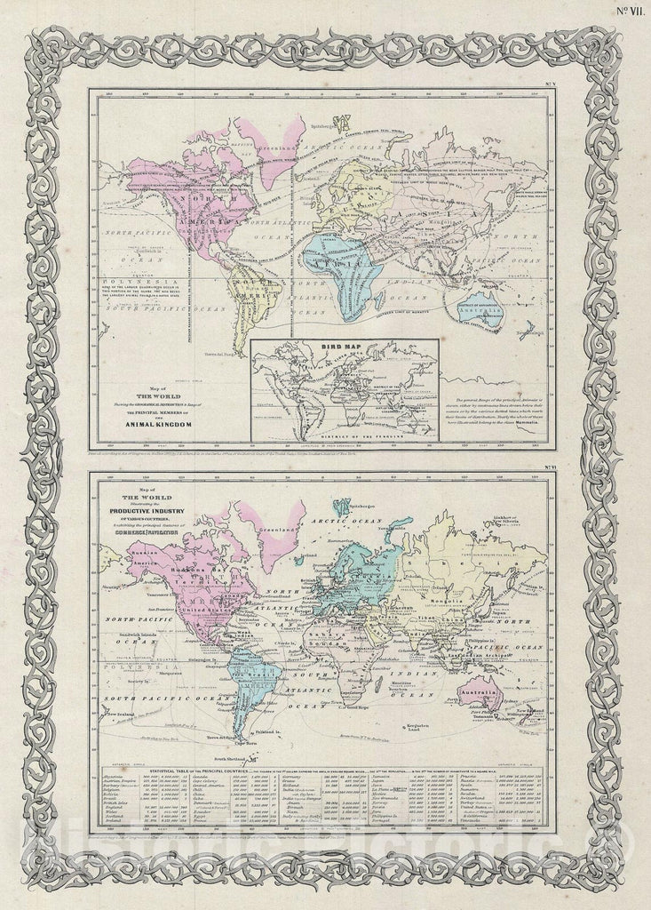 Historic Map : World Industry and Animals, Colton, 1856, Vintage Wall Art