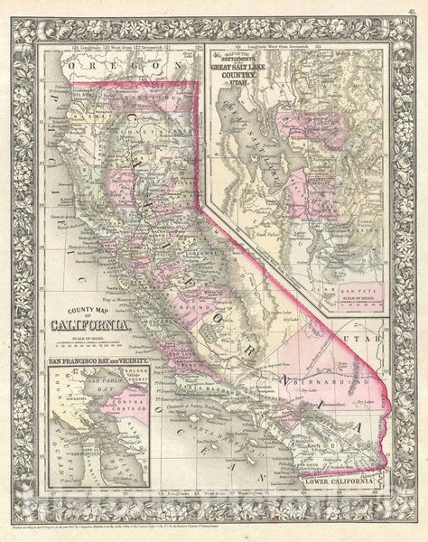 Historic Map : California, Mitchell, 1866, Vintage Wall Art