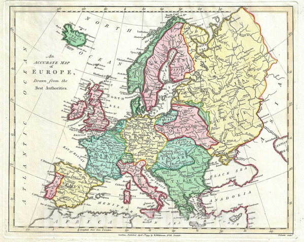 Historic Map : Europe, Wilkinson, 1793, Vintage Wall Art