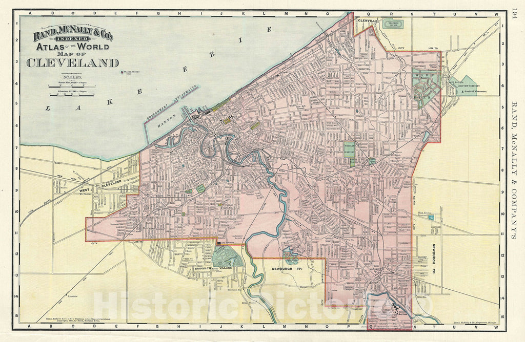 Historic Map : Cleveland, Ohio, Rand McNally, 1891, Vintage Wall Art