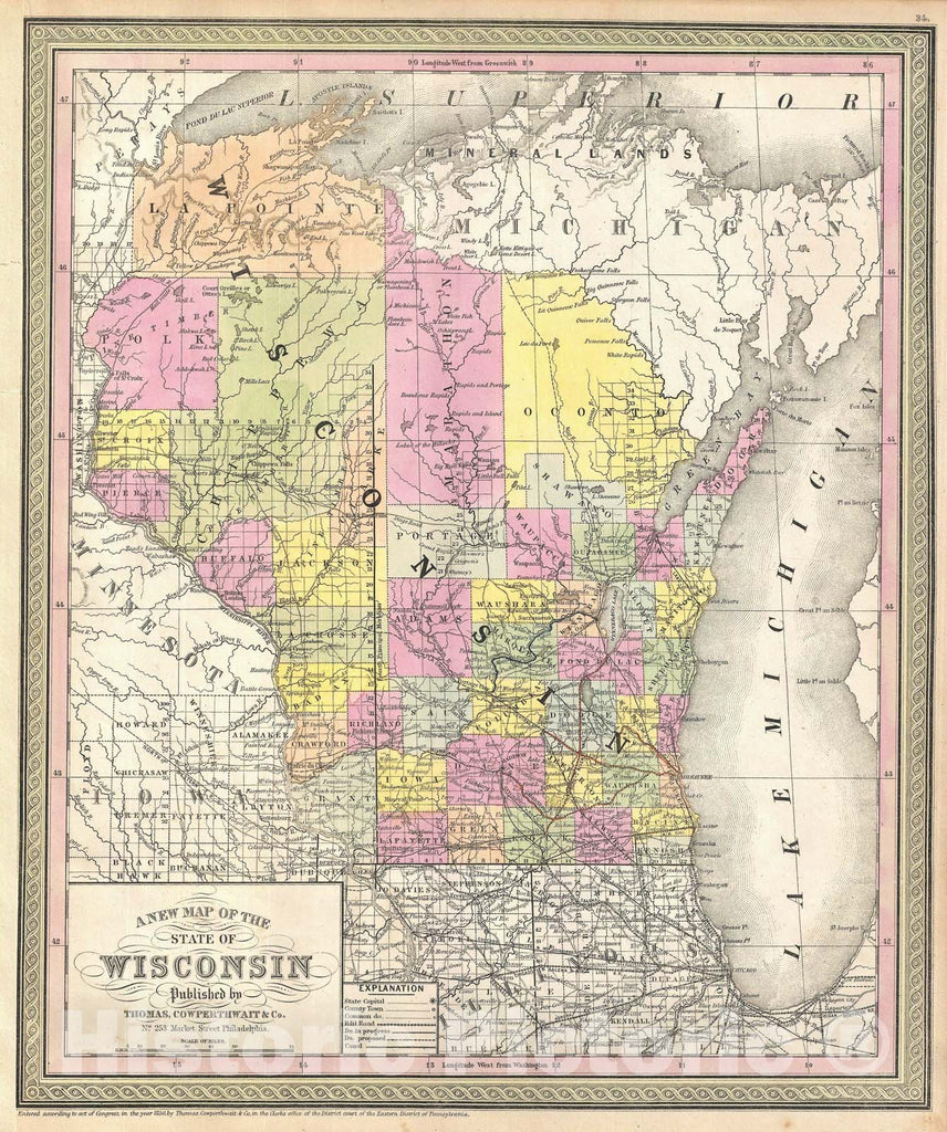 Historic Map : Wisconsin, Mitchell, 1854, Vintage Wall Art