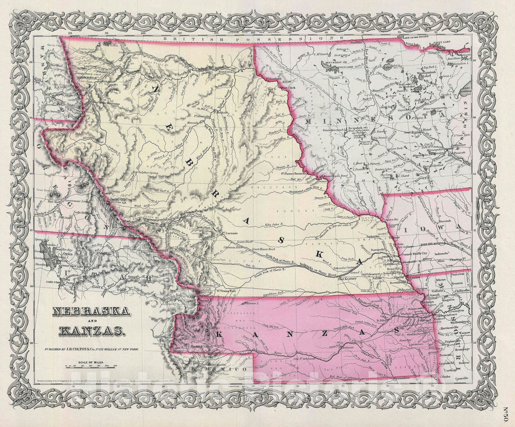Historic Map : Nebraska and Kansas, Colton, 1856, Vintage Wall Art