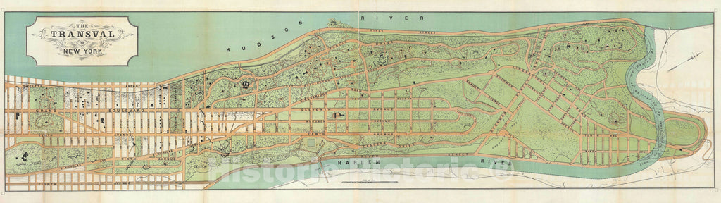 "Historic Map : Upper Manhattan ""Washington Heights, Fort George, and Inwood"", Viele, 1880, Vintage Wall Art"