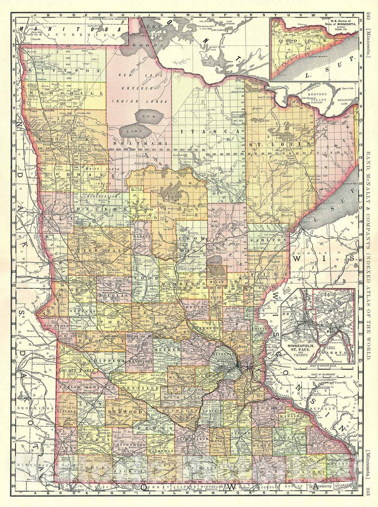 Historic Map : Minnesota, Rand McNally, 1889, Vintage Wall Art
