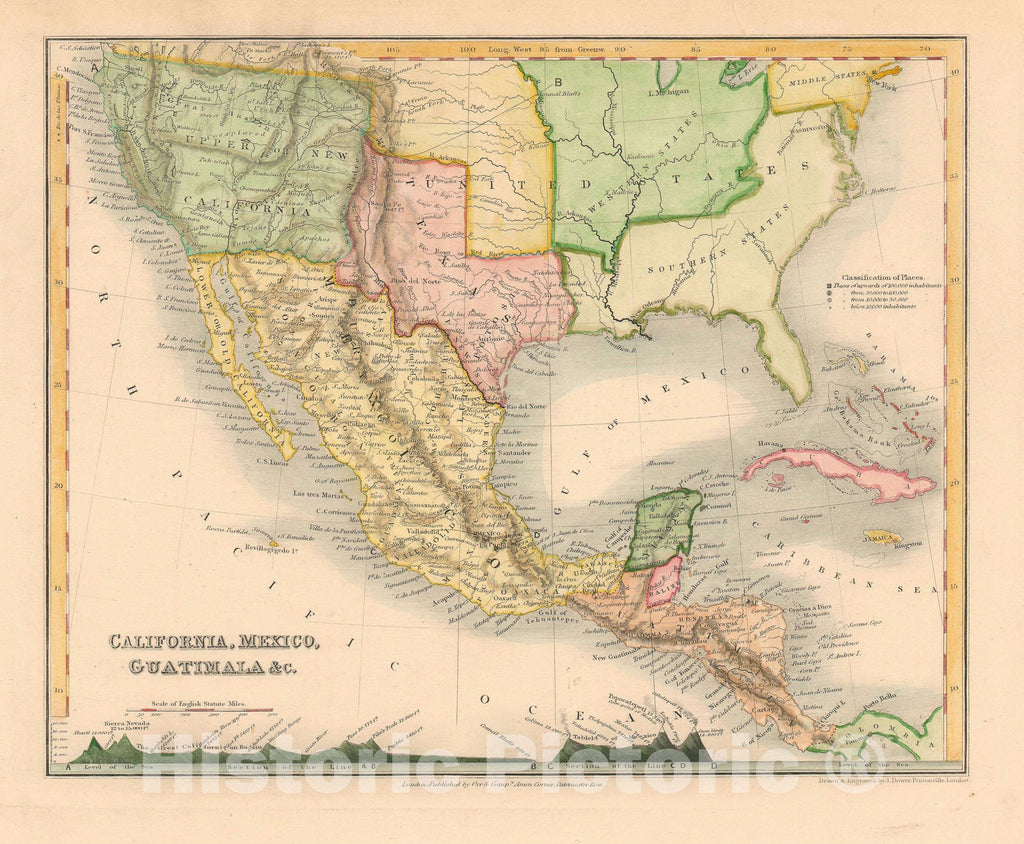 Historic Map : Mexico and California, Dower, 1850, Vintage Wall Art
