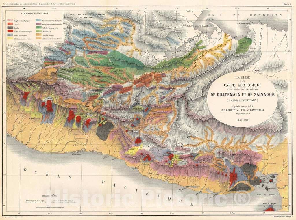 Historic Map : Montserrat and Dolfuss Geological Map of Guatemala, 1868, Vintage Wall Art