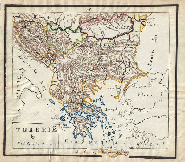 Historic Map : Greece and The Balkans, Sikkel Manuscript, 1871, Vintage Wall Art