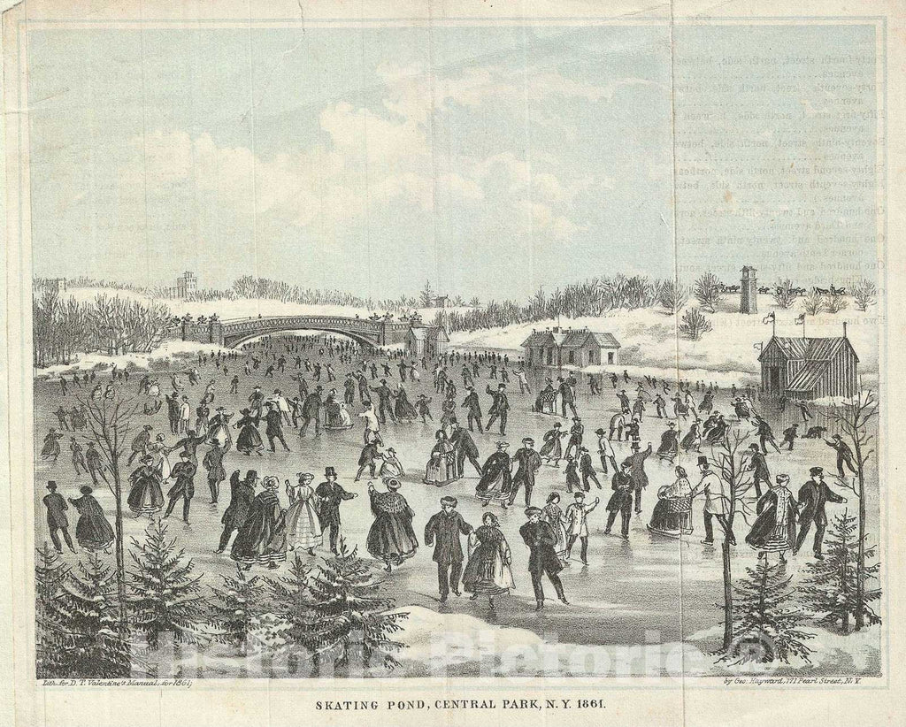 Historic Map : Skating Pond in Central Park, New York, Valentine, 1861, Vintage Wall Art