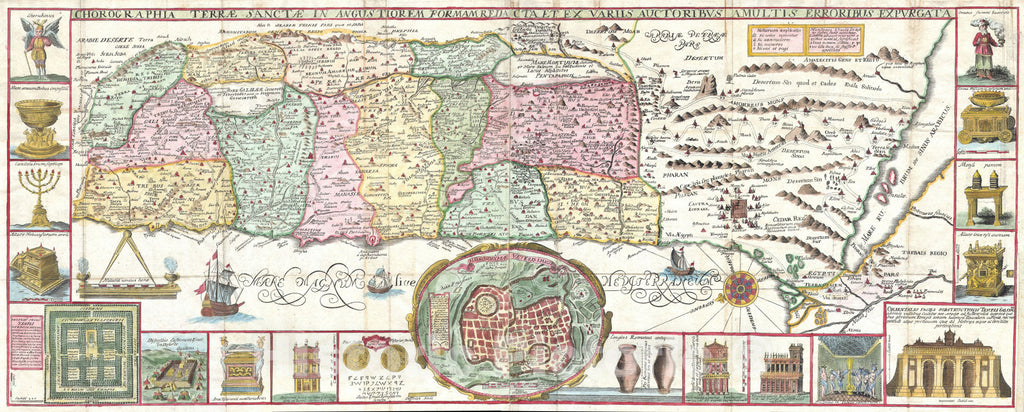 Historic Map : The Holy Land - Israel w- numerous insets, Tirinus, 1632, Vintage Wall Art
