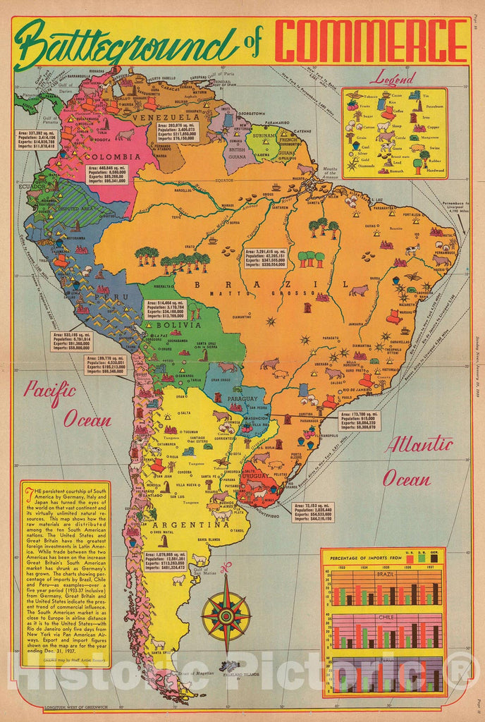 Historic Map : Pictorial Map of South America, Romer, 1939, Vintage Wall Art