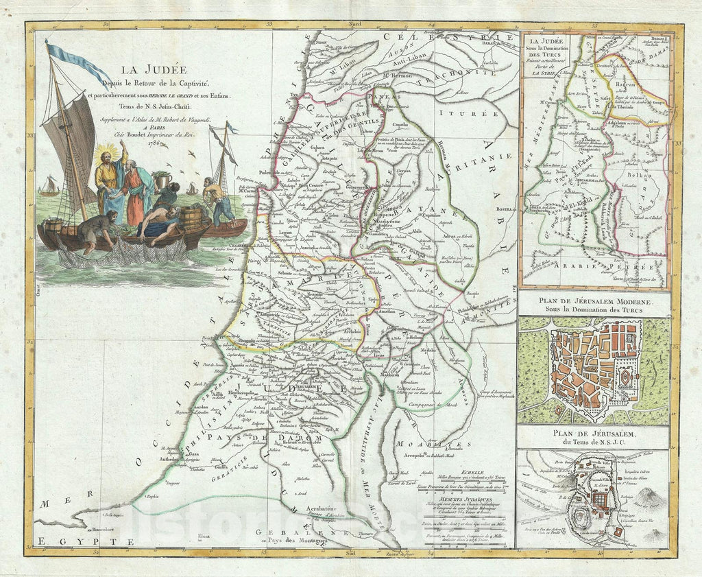 Historic Map : Israel, Palestine or The Holy Land, Vaugondy, 1786, Vintage Wall Art