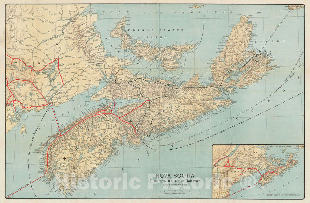 Historic Map : Nova Scotia and Dominion Atlantic Railway, Poole Brothers, 1918, Vintage Wall Art