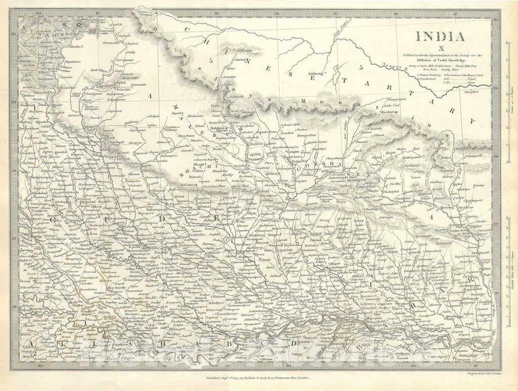 Historic Map : North India, Nepal, and Allahabad, S.D.U.K., 1834, Vintage Wall Art