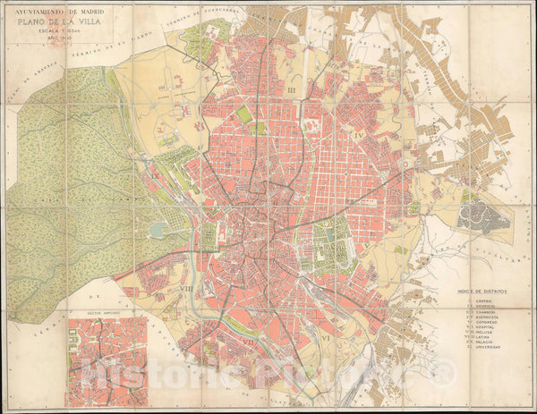 Historic Map : Plan of Madrid, Spain, Madrid Council, 1945, Vintage Wall Art